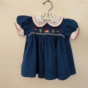Vintage Blue Polka Dot Smocked Baby Girls Dress  Embroidery 12 Months