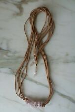 Women's Brown Suede Necklace With Pink Stones Pendant