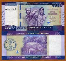Liberia, 500 dollars 2016 (2017), P-New, UNC > Hippo, New Highest Denomination