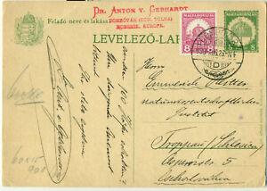 Hungary 1930 Levelezö-Lap Dombovar PSC Postal Card up-Rated Abroad to ČSR