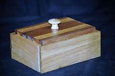 Vintage Style Home Made Wooden Jewelry Ring Catch All Box Oak & Walnut Wood