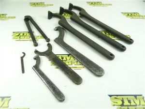 """LOT OF 8 NEW & USED ASSORTED SPANNER WRENCHES SIZE RANGE 7/16"""" TO 2"""" BILLINGS+"""