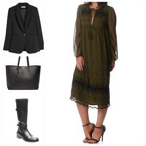 TOPSHOP - Women Embroidered Midi Smock Boho Dress GREEN KHAKI **NEW RRP $159.95