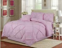 Pintuck Quilt Duvet Cover Bedding Set Genuine 68-Pick Fabric Hand Stitch Silver