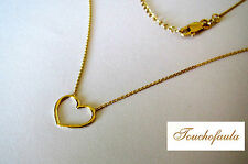 "14K Solid Yellow Gold Necklace with Open Heart 16"" adjustable to 18"""