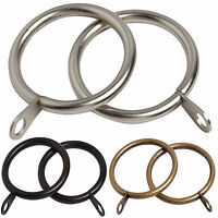 8 PACK Large Heavy Duty Metal Curtain Rings to fit 28mm Curtain Pole, 3 Colours