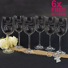 6 x Personalised Engraved Bride & Bridesmaid 360ml Wine Glasses-Wedding Favour