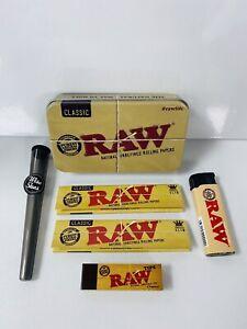 RAW Smoking Tin Gift Set King Size Tips Jet Lighter New *FREE GIft*