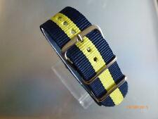 Uhrenarmband Nylon 22 mm blau gelb blau NATOBAND Dornschließe Textil