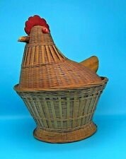Vintage Rattan Wicker Chicken Hen Rooster Basket Wood Beak Farmhouse