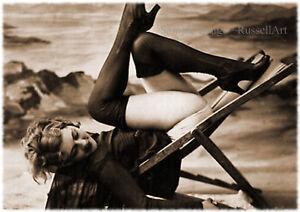 Vintage 40 1920's Erotic Female Nude Sepia Retro Art PHOTO REPRINT RussellArt
