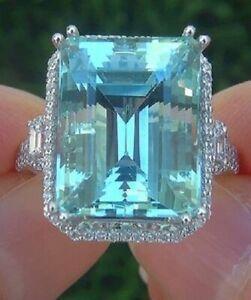 925 Sterling Silver Bridal Emerald Cut Aquamarine Wedding Cocktail Ring 25.10C T
