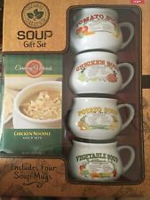 Caraway Natural Soup Gift Set With 4 Soup Mugs Bowls Recipes On Mugs NEW