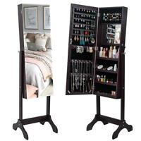 Lockable Full Length Mirror Jewelry Cabinet Dressing Mirror Armoire Organizer
