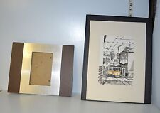 Metal & Wood Picture Frame & Print of Cable Car Signed by G Churaka ? 11 x 14