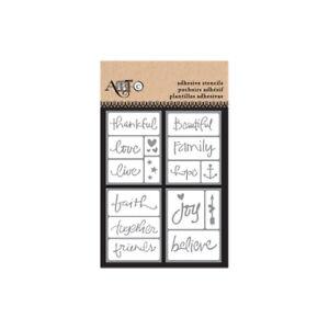 ArtC Adhesive Stencil sentiment message pack 15 piece set sticker WORDS SYMBOLS