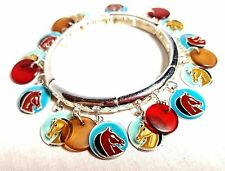 HORSE CHARM BRACELET Enamel Colorful Horses Heads Silver Tone Metal Stretchy