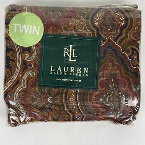 NEW Lauren Ralph Lauren Parker Paisley Brown Twin Flat Sheet NIP 100% Cotton