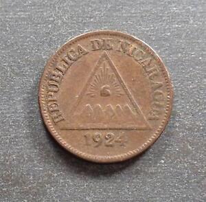 Nicaragua, Medio Centavo de Cordoba, 1924, toned