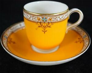 C1933 ROYAL WORCESTER JEWELLED DEMITASSE COFFEE CUP & SAUCER