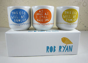 Set of 3 NEW IN BOX Rob Ryan Wild & Wolf HELLO EGG Egg Cups Love Romantic