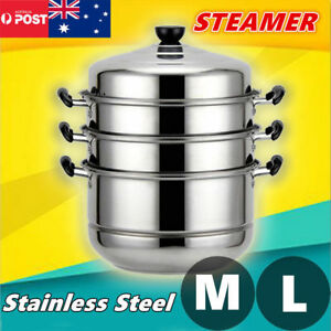 4 Tier 28/32cm Stainless Steel Steamer Cooking Food Stock Hot Pot Cookware ACB#