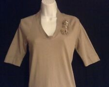 NWT Brunello Cucinelli Tan Cotton Ribbed Knit Embellished Pins T Shirt Top XXL