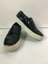 Celine Black Patent Leather Perforated Skate Shoes Slip On Sneakers Size 6 - 36