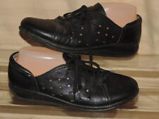 Sanita Frisco 41 Black Perfortated Vented Leather Lace up Oxford Flat Shoes