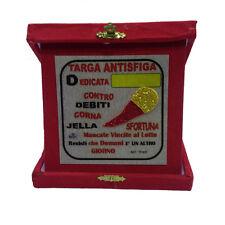 NUOVA ATTIVITA' targa antisfiga personalizzabile con corno glitter rossa 14x14cm