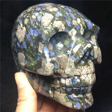 1160g Rare Natural mineral crystal carving skull Healing Brazilian