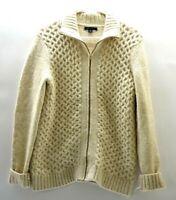 Tommy Hilfiger Women's M Full Zip Up Knitted Sweater Cardigan Jacket Cream Beige