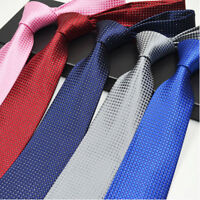 Classic Red Black Blue Men Tie Silk Necktie Set Paisley Wedding Jacquard Woven T