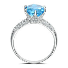 4.52CT Cushion Swiss Blue Topaz Natural Diamond Sterling Silver Engagement Ring