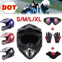 Dot Adult Helmet Goggles Gloves Mask Dirt Bike ATV Off-Road Motocross Motorcycle