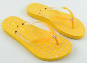 TOMMY HILFIGER Women's Yellow Flip Flops Beach Pool Sandals, size UK 4 EU 37