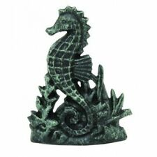 Cast Iron Seahorse Doorstop Nautical Wedge Green and Black Washed Finish