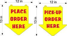 PICK UP ORDERS HERE AND PLACE ORDER HERE SIGNS  YELLOW PLEXI GLASS ARROW