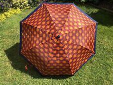 Vintage Retro Ladies Umbrella Orange Pattern, Blue Trim