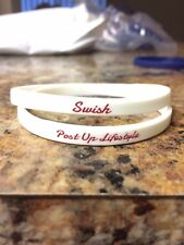 "Pack of 4 Wristbands ""Swish"" Basketball 1/4"" Red, White, and Blue"