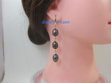 Gorgeous AAA+ 10-12mm real south sea black green baroque pearl earrings 14k Gold