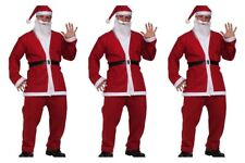 3 Santa Claus SUIT Pub Crawl  Costume 5pc Jacket Pants Belt Hat Beard ONE SIZE