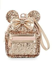 NEW Disney Parks Loungefly Minnie Mouse Rose Gold Mini Backpack Belt Wristlet