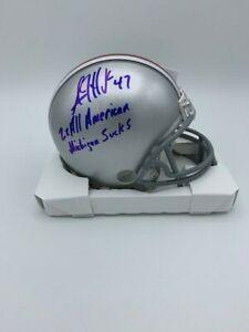 AJ HAWK Signed NCAA Ohio State Mini Helmet Michigan Sucks COA Holograms