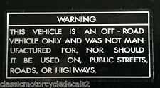 KAWASAKI KV75 Cuadro para Bicicleta de Mono Precaución Advertencia Etiqueta 2