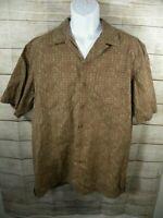 LL Bean Large Tall Button Down Casual Shirt Short Sleeve Maroon Gold Mens Cotton