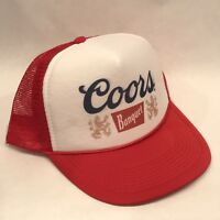 Vintage Style Coors Banquet Beer Trucker Hat Mesh Snapback Promo Cap Red