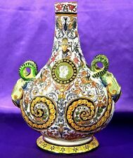 Magnificent ca.1879 French Faience Rouen Decor Bottle/Vase Desvres n Quimper