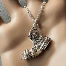 new sterling silver opening old boot pendant & chain