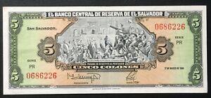 El Salvador (6226), 1988, 5 Colones, P134b, XF+/AU-